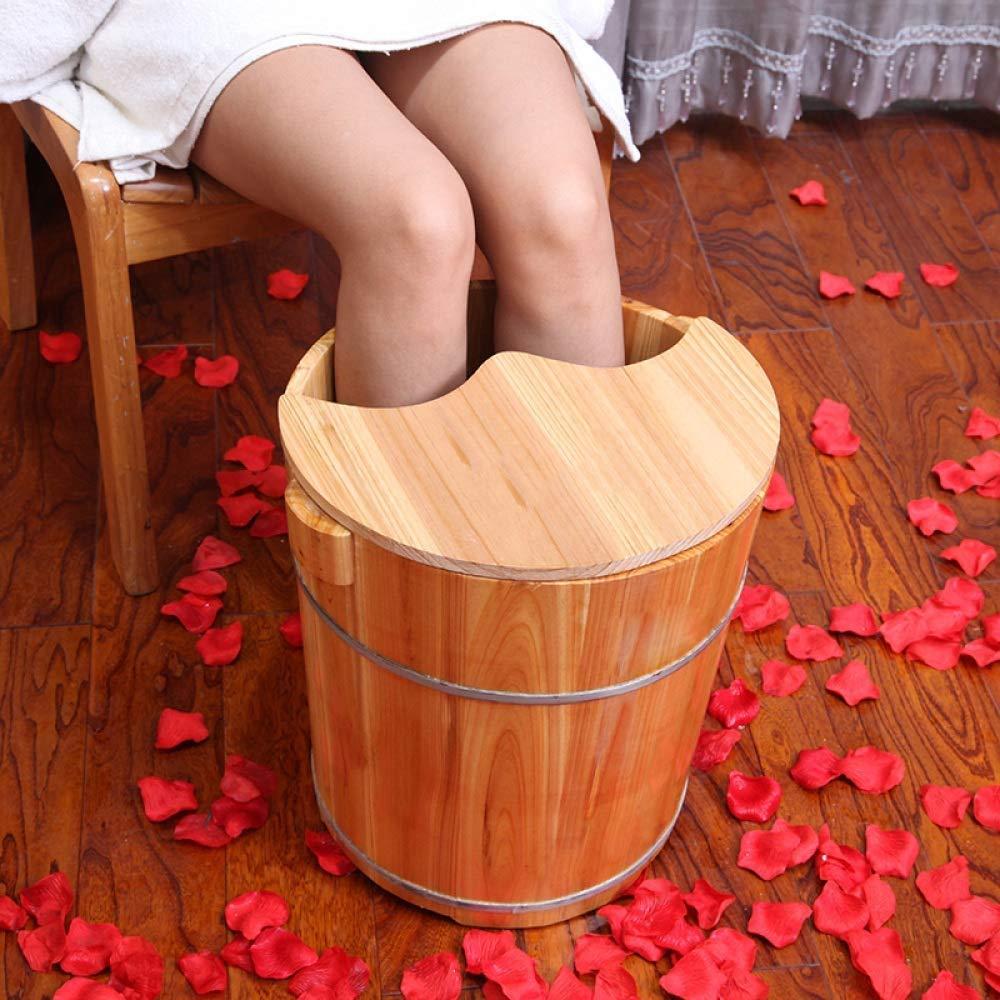 LSLMCS Foot Bath Barrel High 40cm Curved Knee Cover Foot Bath Bucket Bucket Feet Foot Tub Pedicure Basin Wood Foot Basin Wooden Sauna Bucket for Muscle Pain Fatigue by LSLMCS