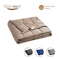 "Cozynight Kids Weighted Blanket 5lbs-Heavy Weighted Blanket for All Sleepers-Soft Breathable Cotton & Premium Glass Beads(36""x48"",Light Brown,Twin Size)"