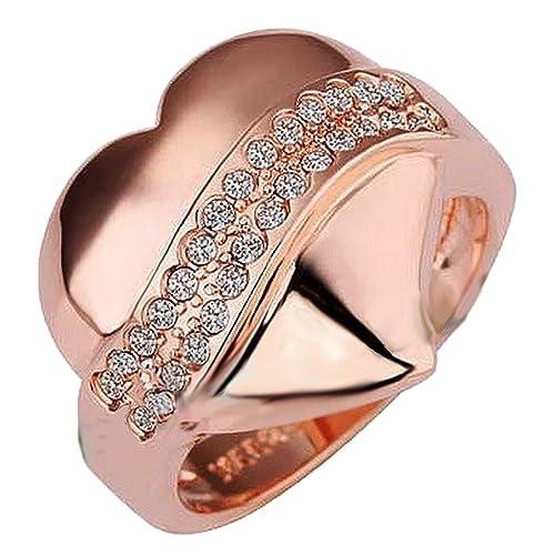 eb9ea4ad6fa9f Amazon.com: Swarovski Element Rose Gold Heart Ring (10): Jewelry