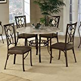 Cheap Hillsdale Brookside Round 5-Piece Dining Set with Oval Back-Chairs, Brown Powder Coat Finish, Set Includes 1-Table and 4-Chairs