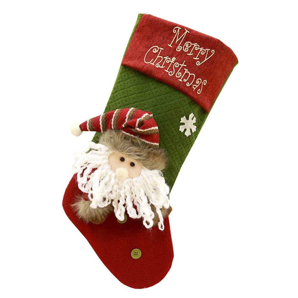 LEEDY - Bolsa de Regalo con Colgante de árbol de Navidad con diseño de Calcetines de Navidad, decoración de Navidad, Adornos Colgantes, Tela, ...