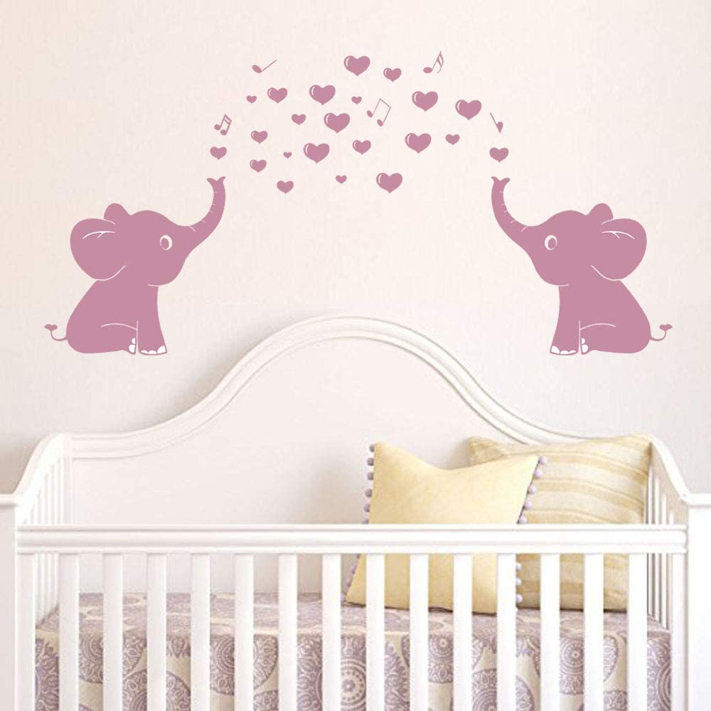 Elephant Wall Decal with Elephant Family Wall Decal Removable Vinyl Wall Art Elephant Bubbles Wall Stickers Baby Nursery Wall Decor (Pink)