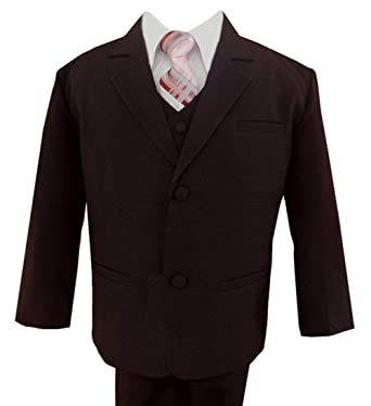 Amazon.com: Gino Giovanni Formal Boy Brown Suit with Pink Tie From ...