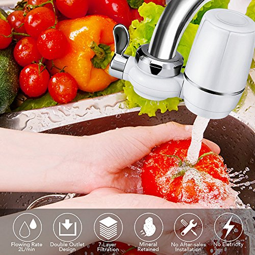 Yimaler Faucet Water Filter, On Tap Water Faucet Filtration System with 0.01 Micron 7 Stage Filtration Ceramics Filter for Home Kitchen Fits Standard Faucets Only White