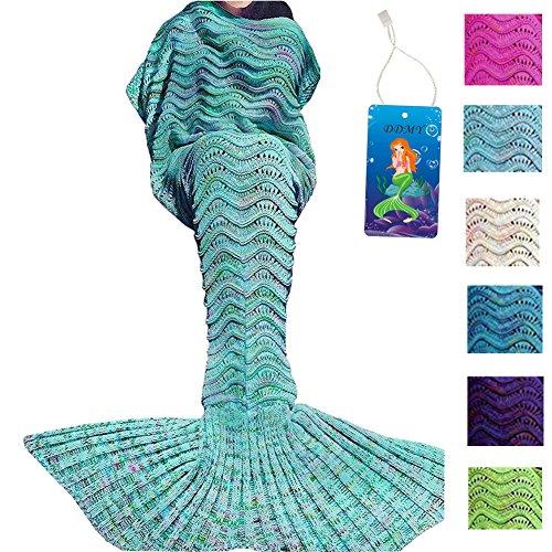 DDMY Mermaid Tail Blanket For Kids Teens Adult Handmade Wave Mermaid Blankets Crochet Knitting Blanket Seasons Warm Soft Living Room Sleeping Bag Best Birthday Christmas gift 74''x35'' Mint Green (Good Birthday Presents For Girls compare prices)