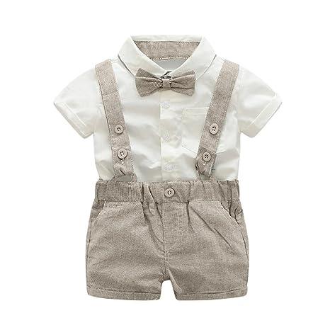 Ropa bebe niño verano ❤ Amlaiworld Bebé Niño Verano Caballero Bowtie Camisa manga corta +