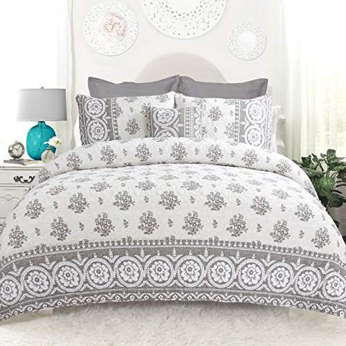 DriftAway Drift Away Vintage-inspired 4 Piece Rina Floral Reversible Quilt Set, 100% Cotton, Pre-washed, Gray (King)