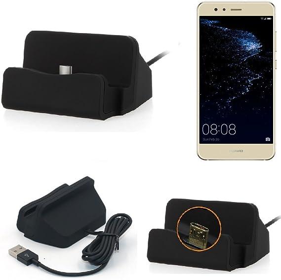 K-S-Trade Base De Carga Compatible con Huawei P10 Lite Dual-SIM Micro USB Cargador Suporto Estación De Acomplamiento Mesa, Negro: Amazon.es: Electrónica