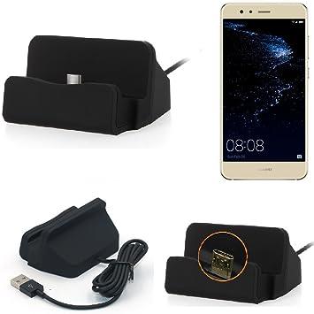 KS-Trade Base de Carga para Huawei P10 Lite Dual-SIM Micro USB Cargador suporto estación de acomplamiento Mesa, Negro