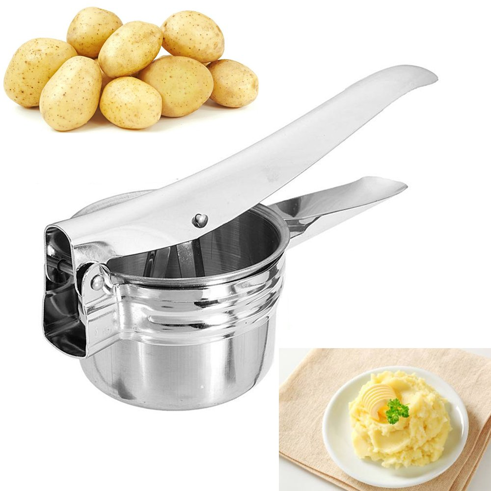 GTmart Stainless Steel Potato Ricer, Potato Masher Hand Press Puree Fruit Vegetable Juicer Maker with 3 Interchangeable Disc