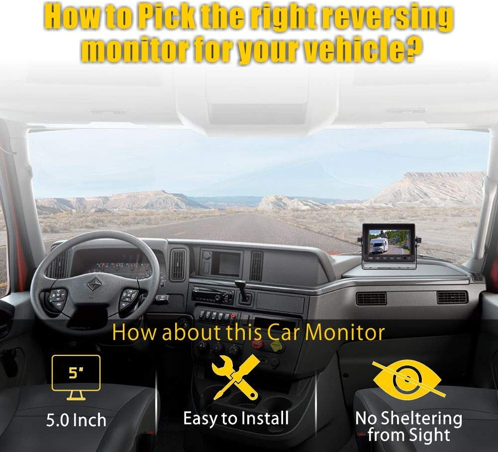 5 Monitor Back up Rearview Camera Night Vision Rear View High Definition Backing Up Monitor Safety Reversing for Car//Truck//Pickup//Van//Camping VECLESUS V5M Backup Camera System Kit