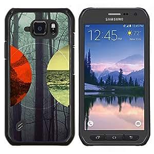 Lanscape Geometría Bosque Mar Montaña- Metal de aluminio y de plástico duro Caja del teléfono - Negro - Samsung Galaxy S6 active / SM-G890 (NOT S6)