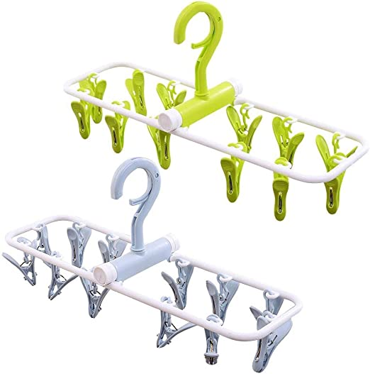 Portable Travel Space Saving Clothing Hanger Foldable Drying Rack Clothes Peg
