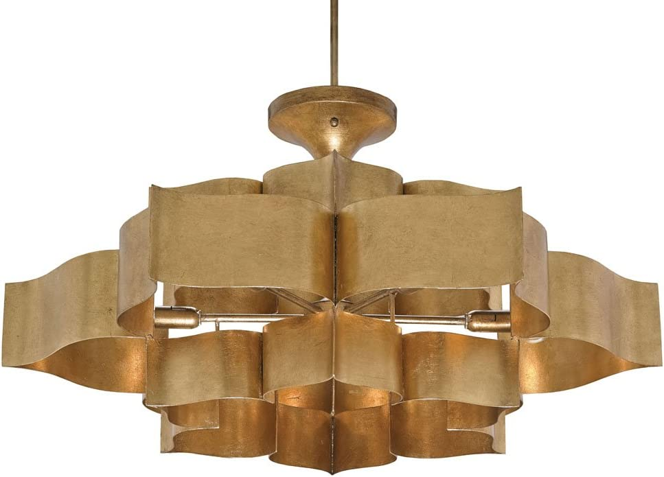 Currey and Company 9494 Grand Lotus – Six Light Chandelier, Antique Gold Leaf Finish