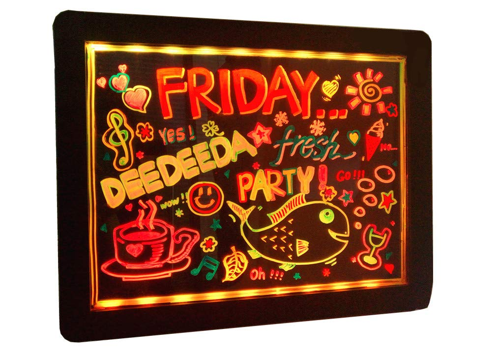 DEEDEEDA LED Message Writing Board, Neon Glow Drawing Board, Sparkle Illuminated Flashing Erasable Neon Effect, Acrylic Kids Colorful Doodle Pad, For Shop/School/Bar/Decoration/Promotion/Cafe