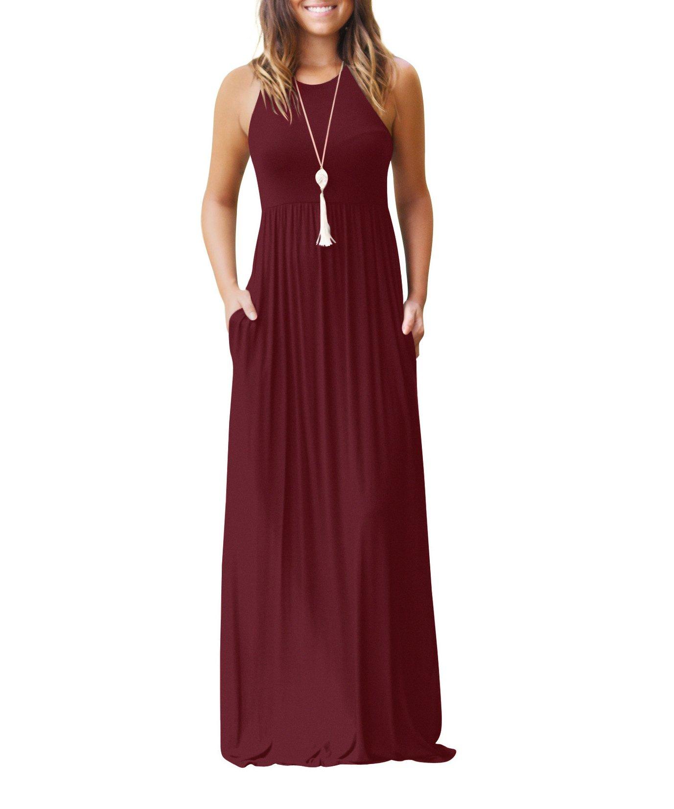 AAMILIFE Women's Sleeveless Racerback Casual Loose Plain Long Maxi Dresses with Pockets Burgundy M