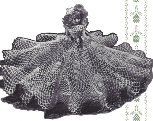 (Vintage Crochet PATTERN to make - 8-inch Pineapple Doll Clothes Dress Hat or Doily. NOT a finished item. This is a pattern and/or instructions to make the item)