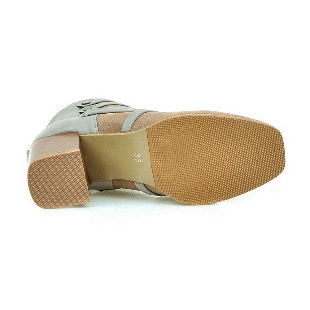 VogueZone009 Damen Gemischte Farbe Quadratisch Zehe Stiefel mit Metall Nägel, Aprikosen Farbe, 34