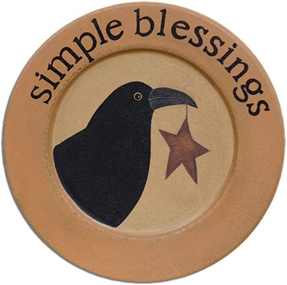 HAPPY DEALS ~ Primitive Wooden Crow Plate | Simple Blessings Crow with Star | 8.75 inch