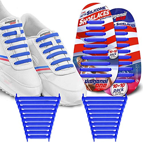 Diagonal One No Tie Shoelaces for Kids & Adults. The Elastic Silicone Shoe Laces to Replace Your Shoe Strings. 20 Slip On Tieless Flat Silicon Sneakers Laces (Dark Blue)