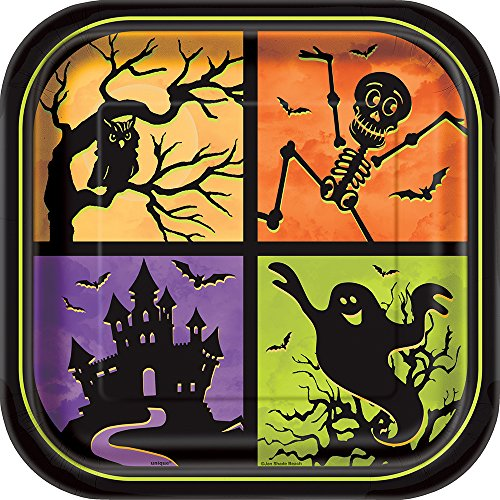 Square Haunted House Halloween Dinner Plates,