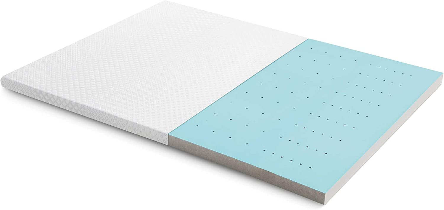 MALOUF CARBONCOOL LT + OMNIPHASE Active Night Long—Phase Change Material Advanced Cooling Mattress Topper, Cal King, White