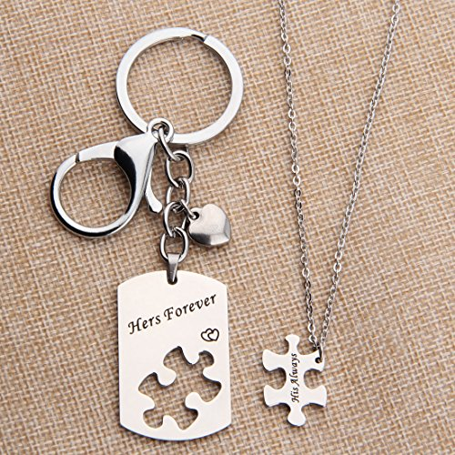 681465e3ba His Always Hers Forever Puzzle Piece Necklaces Keychain Set for Couples  Valentine's Day Gift