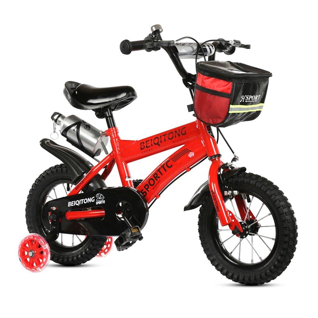 子供の自転車12|14|16|18|20インチ屋外の子供ベイビーキッドマウンテンバイクフラッシュトレーニングホイールで2歳から11歳の男の子の女の子の贈り物|布バスケット|ウォーターボトル安全ダンピング B078JMB5KR 12インチ|赤 赤 12インチ