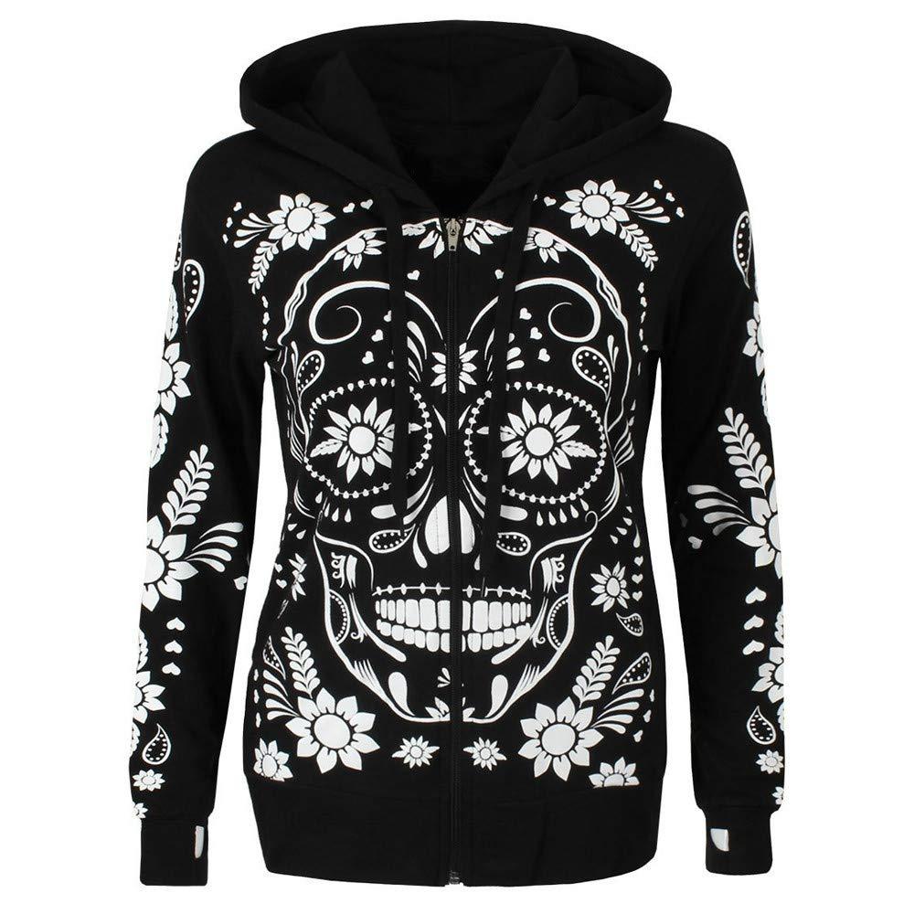 Sunmoot Women Plus Size Long Sleeve Skull Print Zipper Hooded Sweatshirt Blouse Pullover Tops Shirt Black