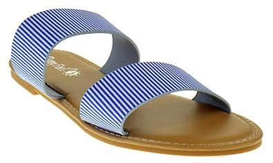 21eed815b48a Sunny Feet Coastline 72S Womens Dual Strap Open Toe Colorful Flat Sandals  Blue White 6