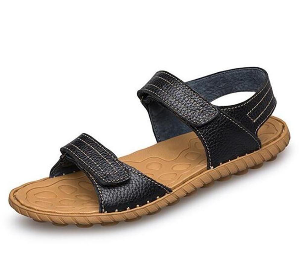 NSLXIE Männer Handgefertigt Schuhe aus Echtem Leder Handgefertigt Männer Velcro Sandalen Strand Sommer Offene Spitze Atmungsaktive Rutschfeste Weiche Sohlen Größe 38 bis 44, EU38 schwarz-eu38 499b8d