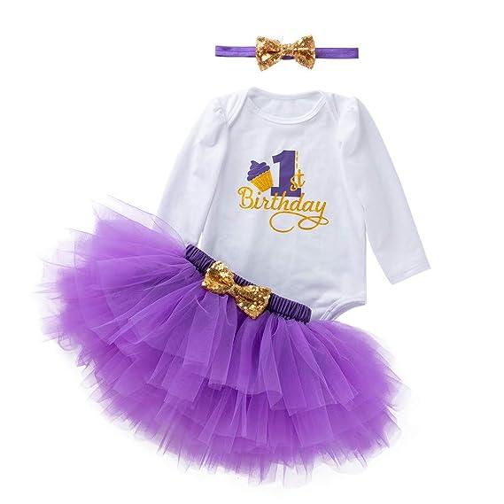 K-youth Vestidos Bebé Primer Cumpleaños Niñas Tutú Vestido de Princesa Vestidos de Fiestas para Niñas 3pcs Conjunto de Mameluco + Tutú Falda + Bowknot ...