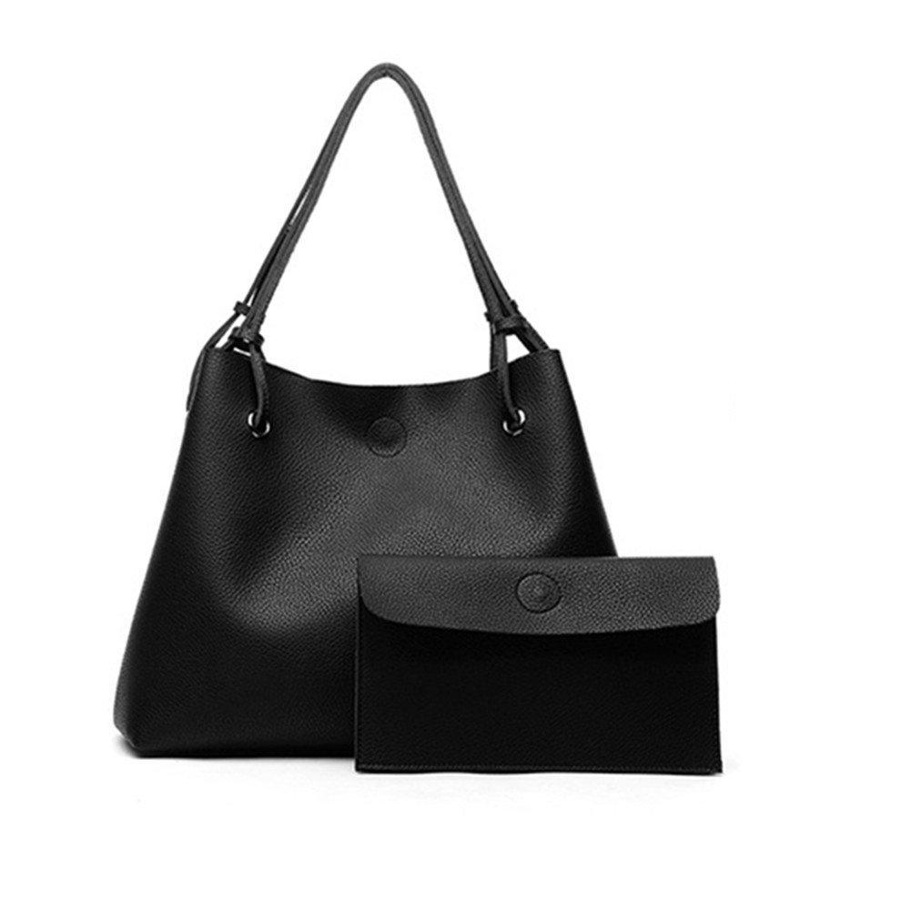 Sunny Sep Women's 2PCS Draw-string PU Leather Bucket Shoulder Bag Tote Bag Soft Shopping Handbag