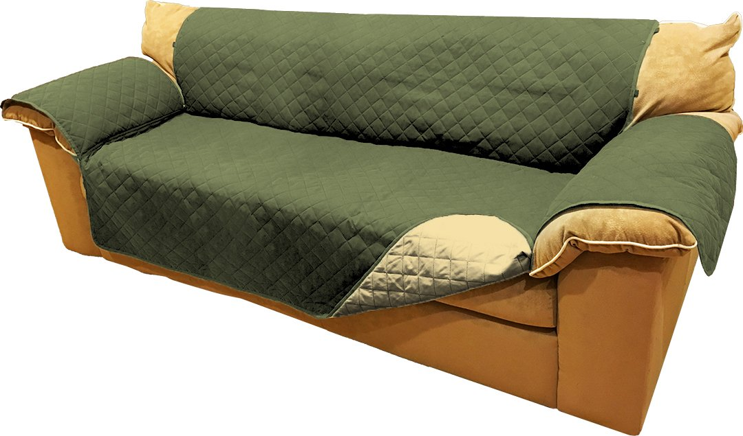 Reversible Microfiber Sofa Cover Throw Furniture Protector For Pets Kids With Hold Down Elastic Straps (Extra Wide Sofa, Olive & Sage)