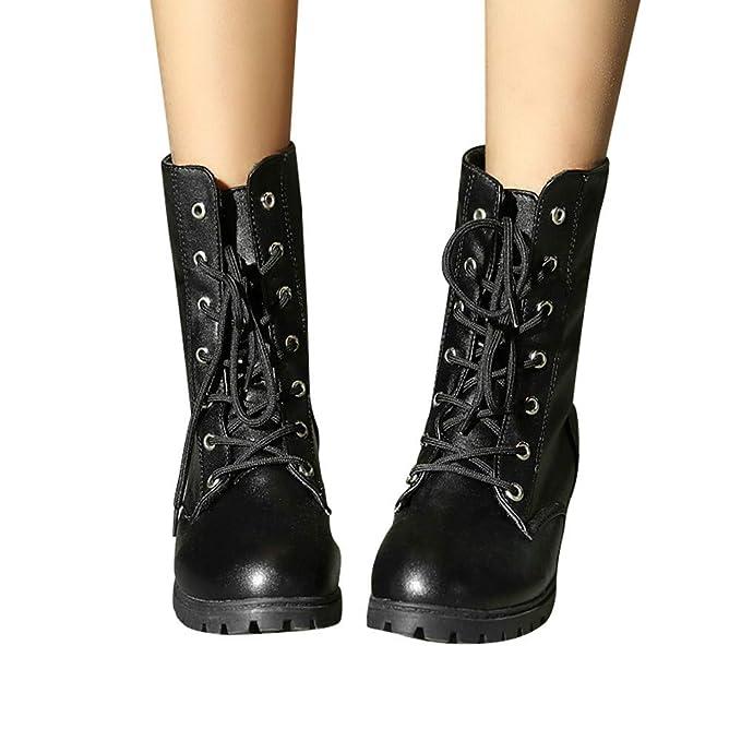 cc532952f3a73 Amazon.com: Gyoume Women Combat Boots Riding Ankle Boots Winter Lace ...