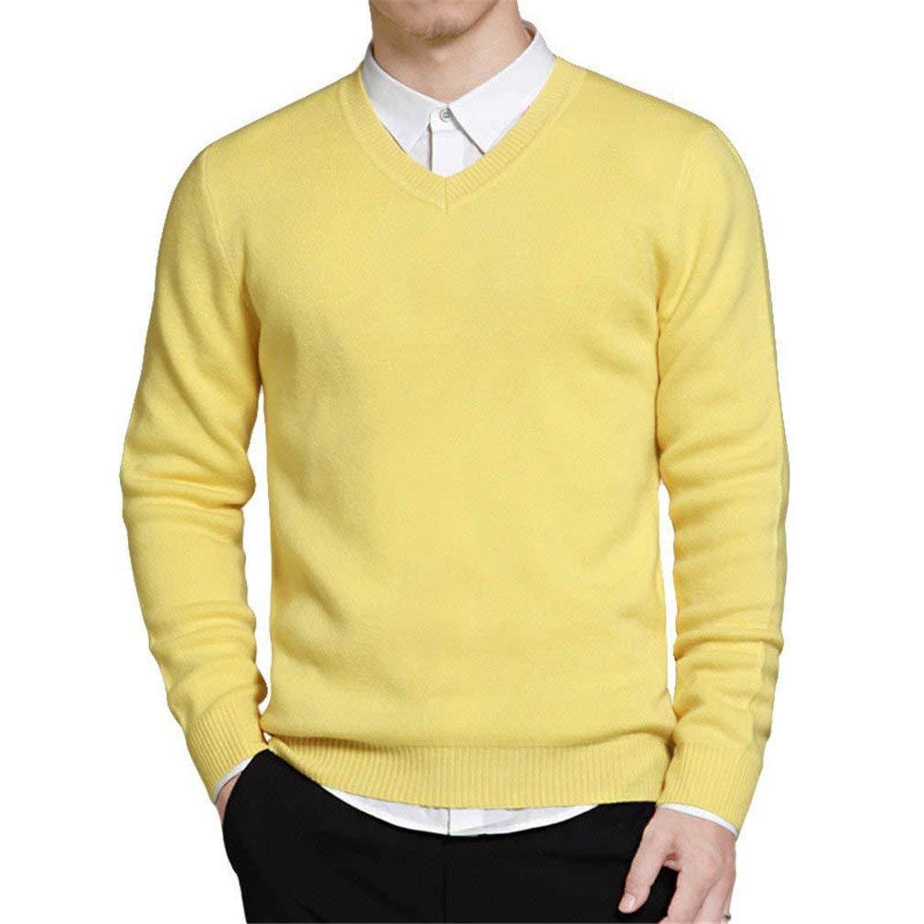 Herren Pullover Gelb Streifen Herren V neck Strickwaren