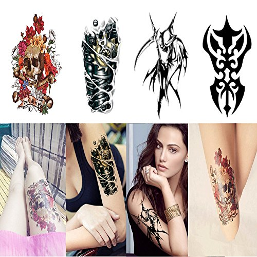 Temporary Tattoos Sticker Waterproof Body Art Tattoos Kit for Men Women Body Arm Forearm Leg Chest Back, 22x15cm by Candice's (Carnival Man With Direction Sign)