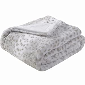Sedona House Faux Fur Throw Blanket - Super Soft Fuzzy Faux Fur Cozy Warm Fluffy Beautiful Plush Microfiber Throw Blanket, Grey