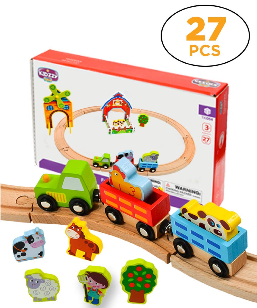 Kidzzy Toys Wooden Farm Train Set, Learning Toy Set with Farm Yard, Tractor Engine, Farmer, Animals, Windmill, Trees and More, 27 Pieces, Compatible with All Major Brands of Magnetic Trains