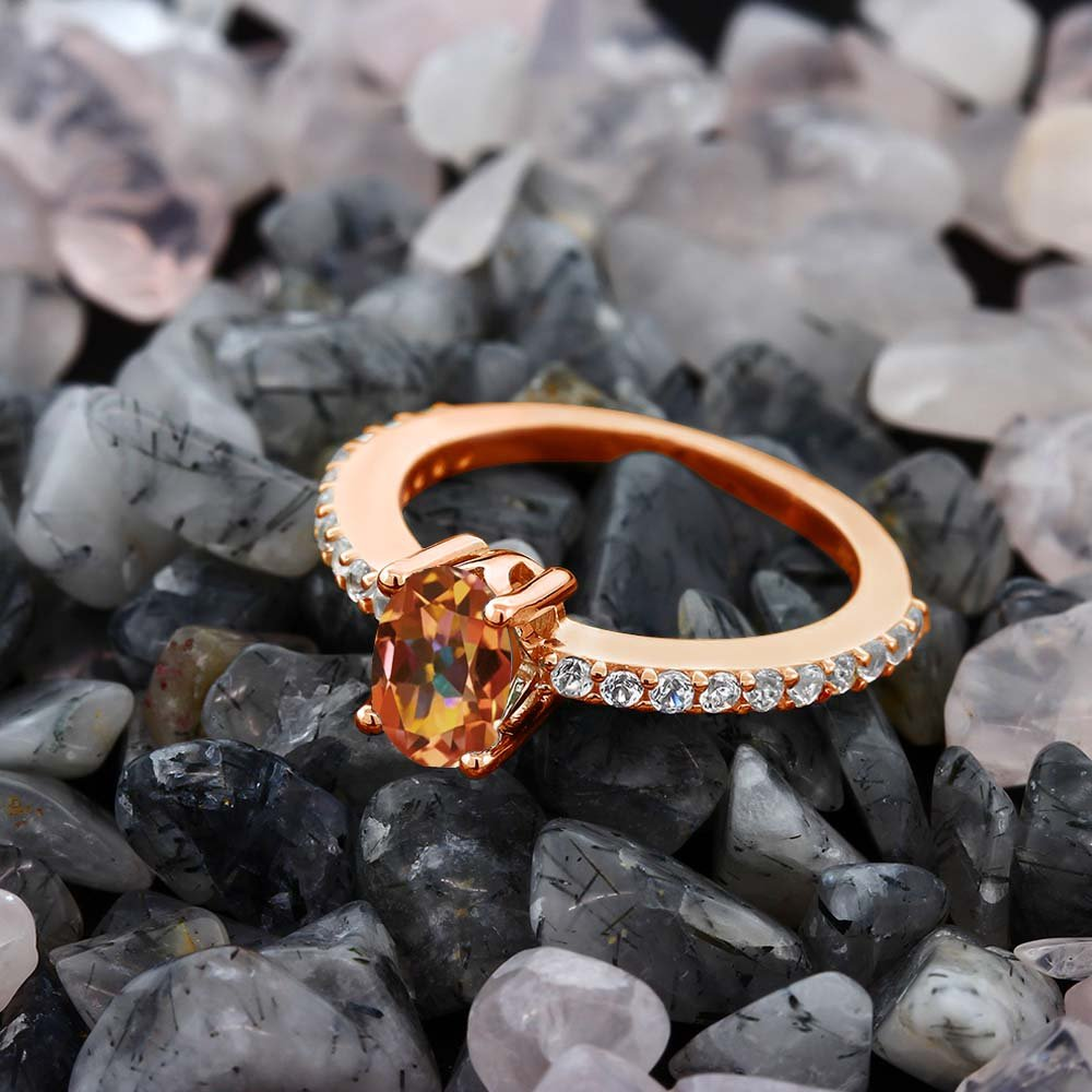 Gem Stone King Ecstasy Mystic Topaz and White Created Sapphire 18K Rose Gold Plated Silver Ring Available 5,6,7,8,9