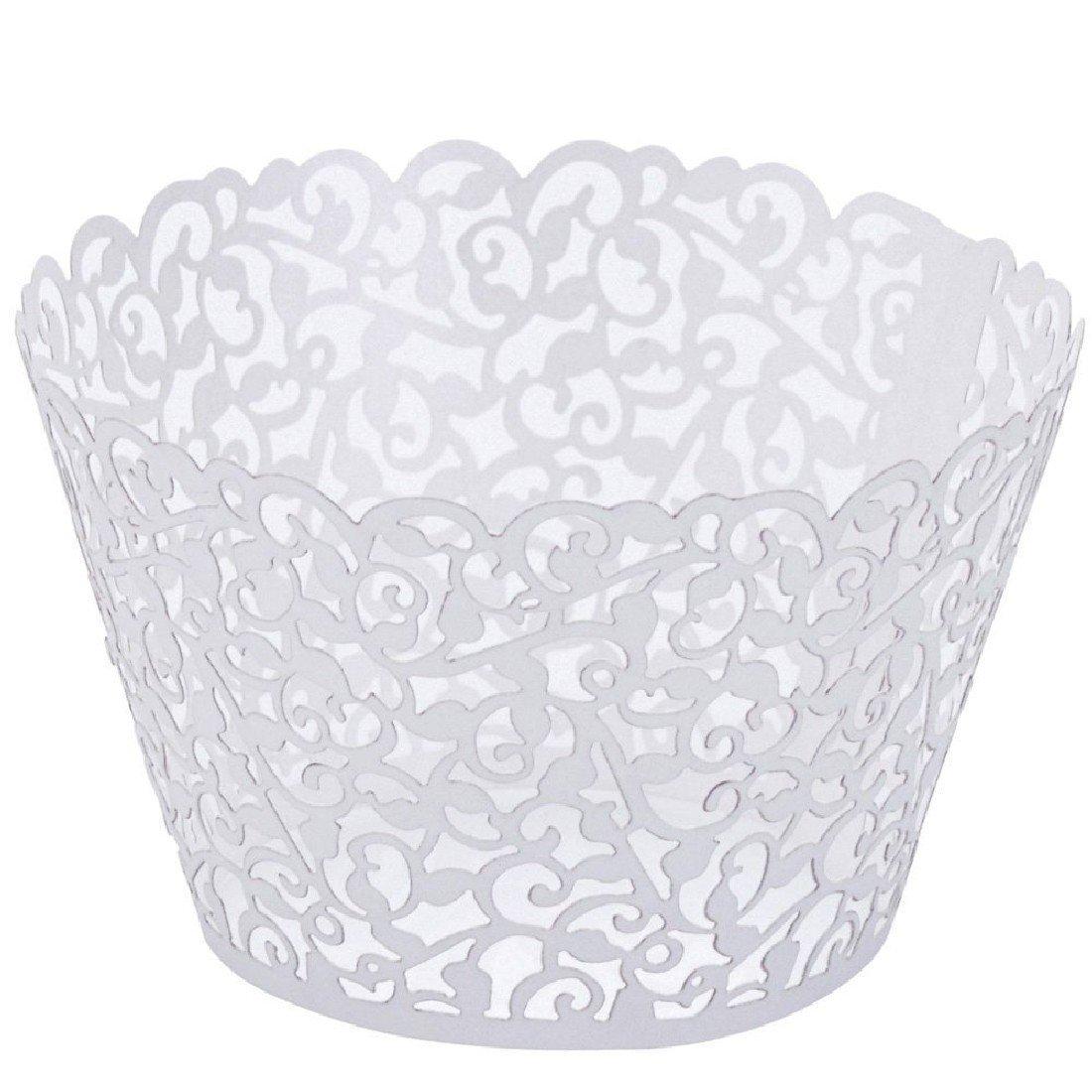 Switty 50Pearly Papier Vine Spitze Cup Cake Wrappers Cupcake Tower Kuchen Dekoration Supplies Weiß