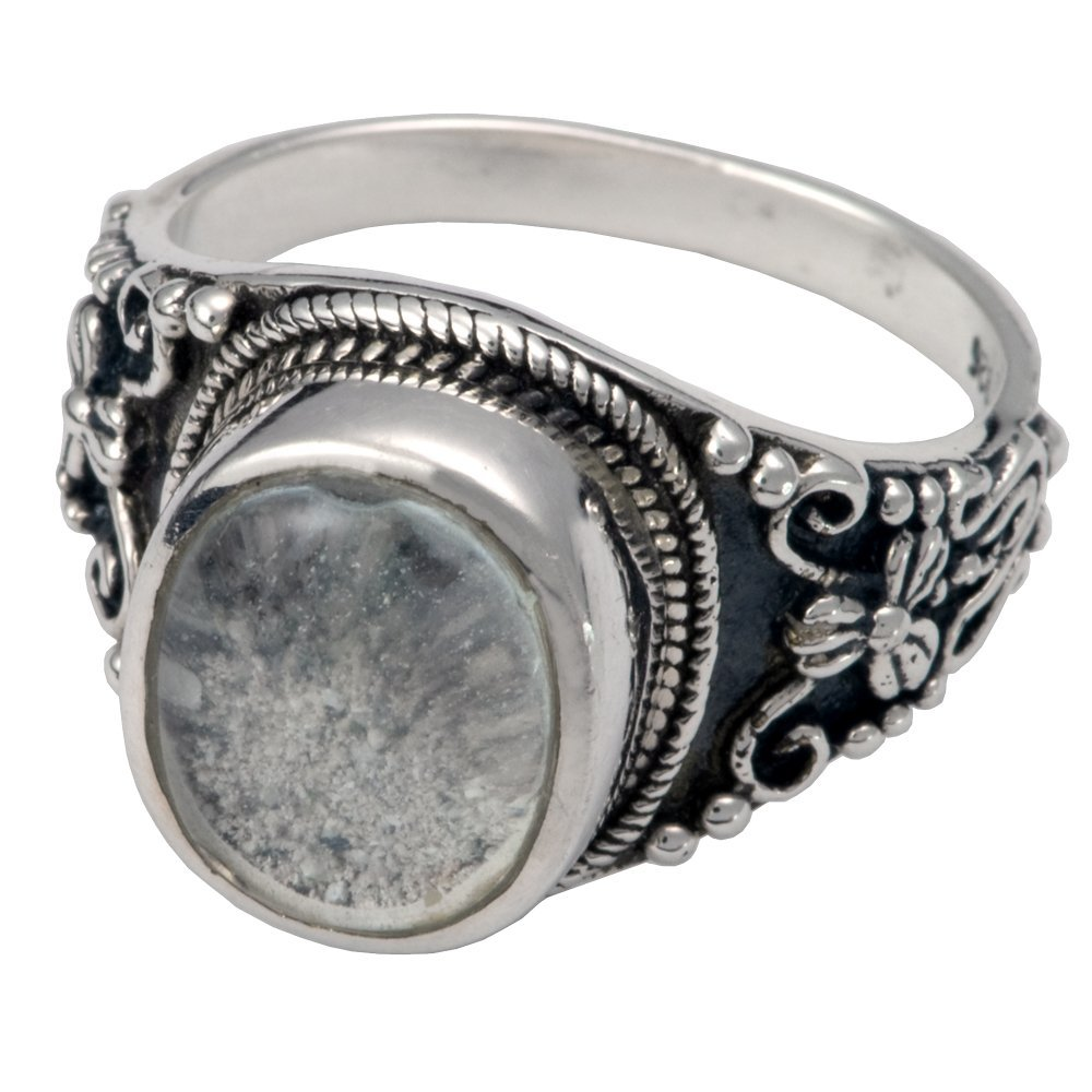 Memorial Gallery 2004Bs-9 Antique Sterling Silver Ring with Clear Glass Front Cremation Pet Jewelry, Size 9 by Memorial Gallery