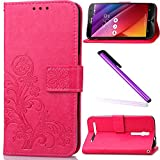 ASUS ZenFone 2 Laser ZE550KL Case Cover EMAXELER Colour Stylish Kickstand Flip Embossing Credit Cards Slot Cash Pockets PU Leather Wallet Cover for ZenFone 2 ZE550KL Clover Red