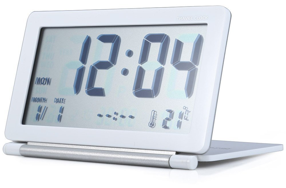 Margoth Multifunction Silent LCD Digital Large Screen Travel Desk Electronic Alarm Clock, Date/Time/Calendar/Temperature Display, Snooze, Folding (white) MH-004