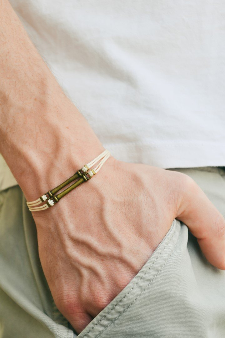 Men's bracelet, beige cord bracelet for men with double bronze bars, off white cord, bracelet for men, gift for him, mens jewelry, bar Men' s bracelet