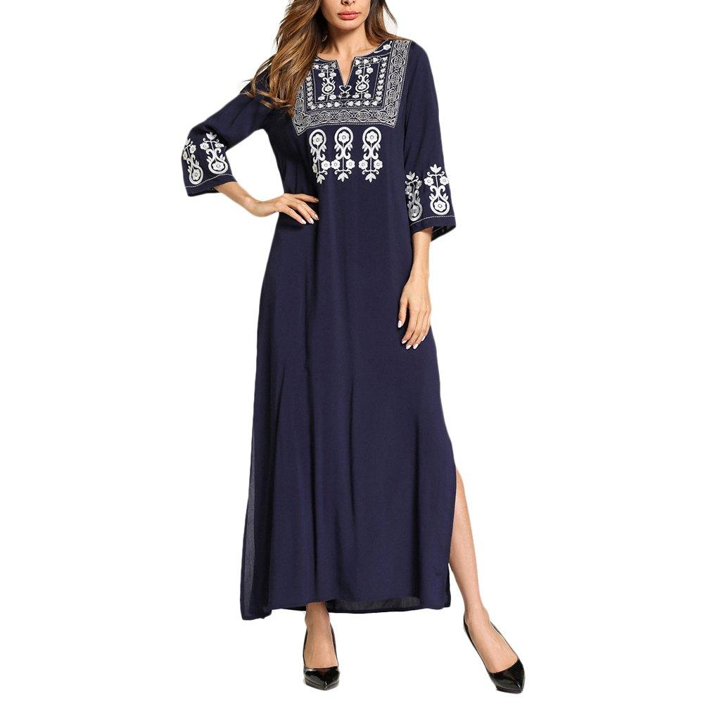 Zhhlaixing Ligero Retro Azul 3/4 Mangas Islámica Ropa Abaya Vestido Kaftan Vestidos para Mujer Verano Elegante y cómodo: Amazon.es: Ropa y accesorios