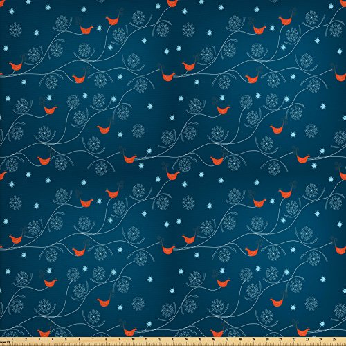 Leafless Tree Branches (Winter Fabric by the Yard by Ambesonne, Cute Orange Birds on Leafless Tree Branches Snowy Woods Artful Nature, Decorative Fabric for Upholstery and Home Accents, Petrol Blue Orange White)