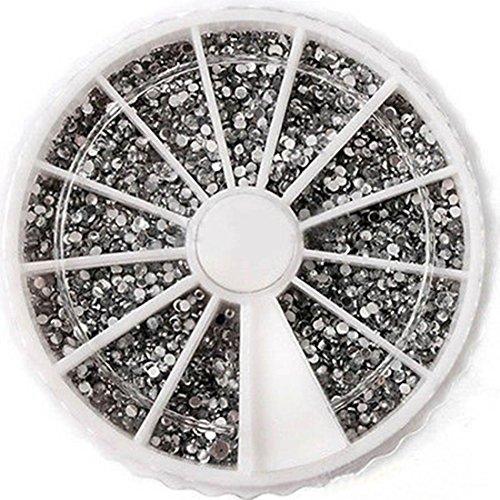 lar 3D Diamond Gems Random Mixed Nail Art Cellphone Decor Non-Toxic Fashion Tips Size 1.5mm Color White ()