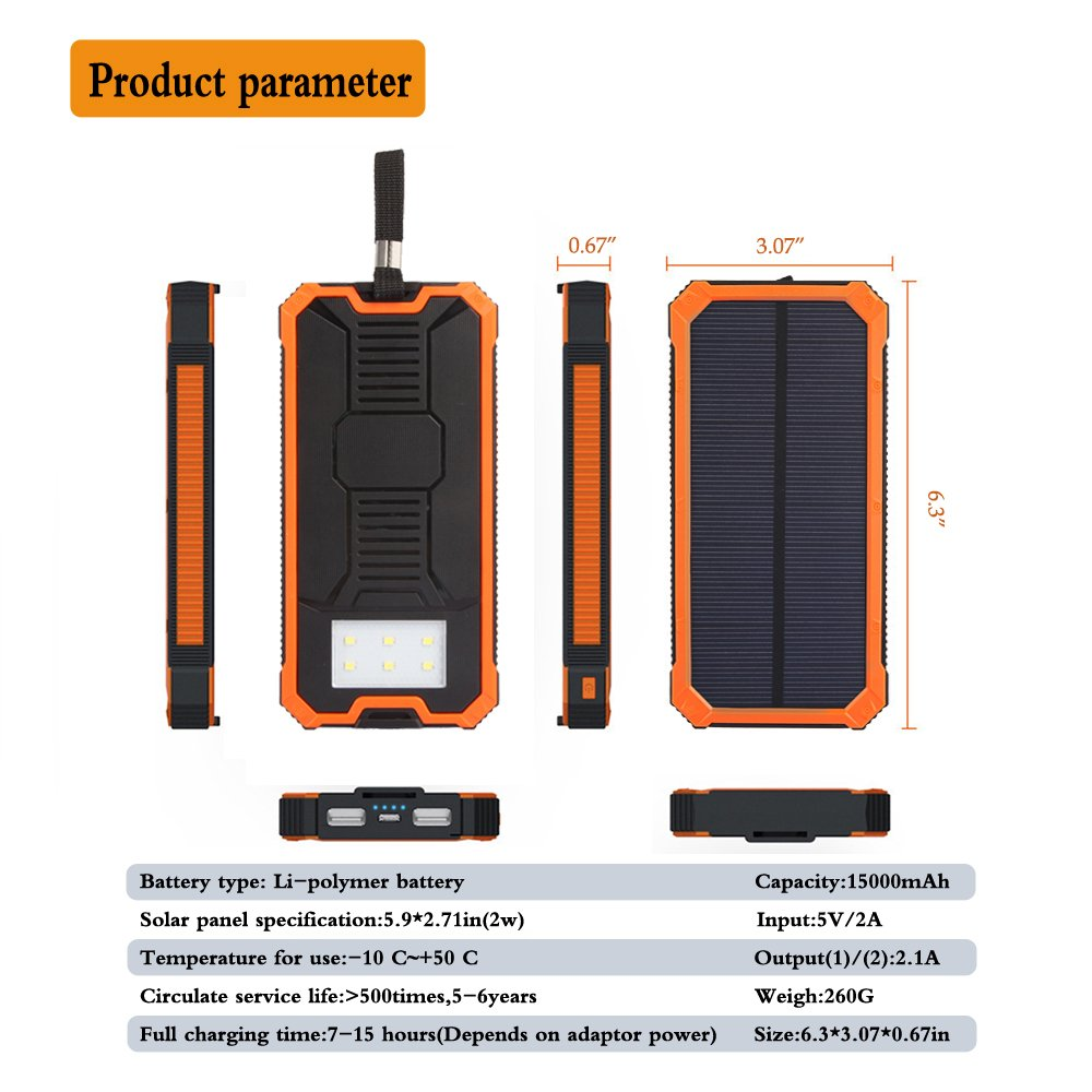 Solar Charger Friengood 15000mAh Portable Solar Power Bank Dual USB Ports Solar Phone Battery Charger with 6 LED Flashlight Light for iPhone, iPad, Samsung and More (Orange) by Friengood (Image #6)