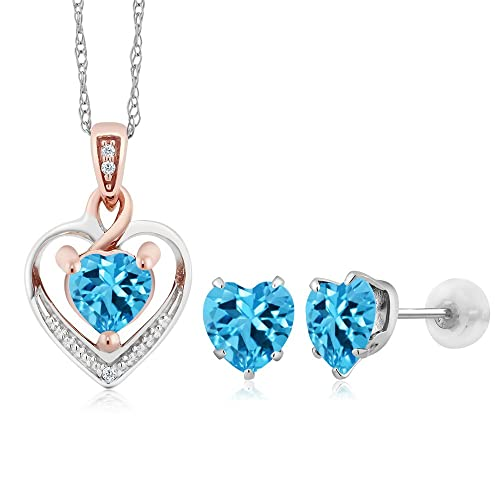 10K White Gold Heart Shape Swiss Blue Topaz and Diamond Pendant Earrings Set